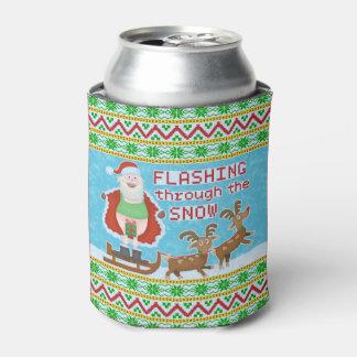 Funny Christmas | Santa Claus Flashing Thru Snow Can Cooler
