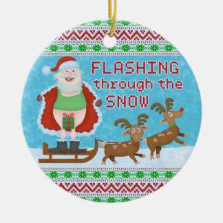 Funny Christmas | Santa Claus Flashing Thru Snow Christmas Ornament