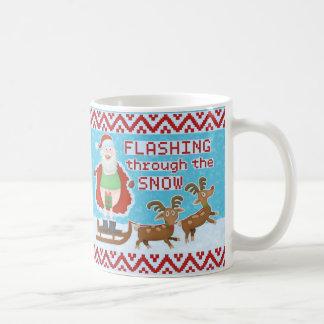 Funny Christmas | Santa Claus Flashing Thru Snow Coffee Mug
