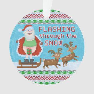 Funny Christmas | Santa Claus Flashing Thru Snow Ornament