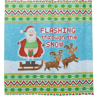 Funny Christmas | Santa Claus Flashing Thru Snow Shower Curtain