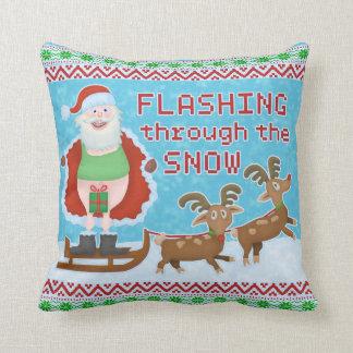 Funny Christmas | Santa Claus Flashing Thru Snow Throw Pillow