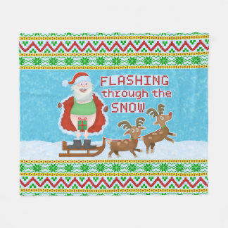 Funny Christmas |Santa Claus Flashing Thru Snow V2 Fleece Blanket