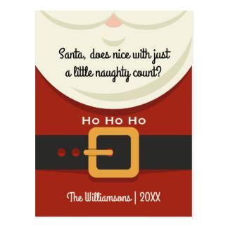 Funny Christmas Santa Claus Naughty & Nice Holiday Postcard