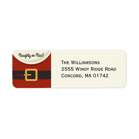 Funny Christmas Santa Claus Naughty & Nice Return Address Label