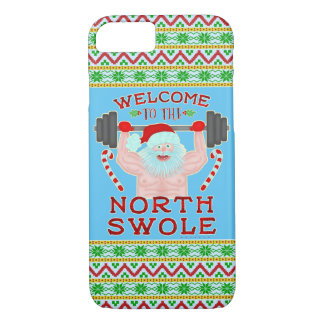 Funny Christmas Santa Claus Swole Weightlifter iPhone 8/7 Case