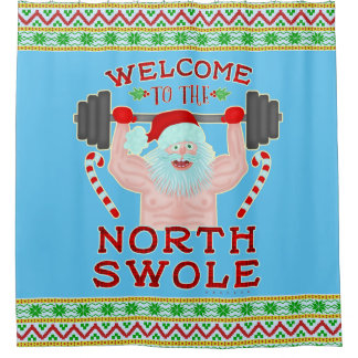 Funny Christmas Santa Claus Swole Weightlifter Shower Curtain