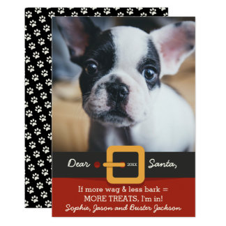 Funny Christmas Santa Dog More Wag Less Bark Photo 13 Cm X 18 Cm Invitation Card