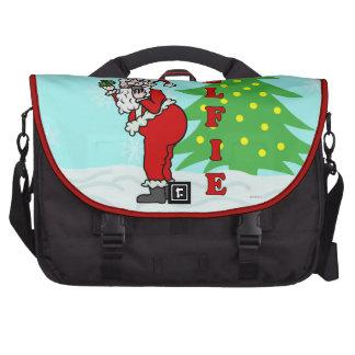 Funny Christmas Santa Elfie Laptop Commuter Bag