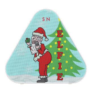 Funny Christmas Santa Elfie Monogram