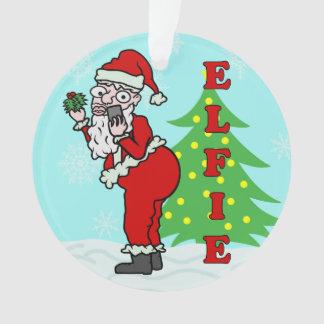 Funny Christmas Santa Elfie Ornament