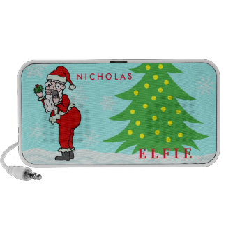 Funny Christmas Santa Elfie Personalized Portable Speakers