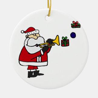 Funny Christmas Santa Playing Trumpet Round Ceramic Decoration