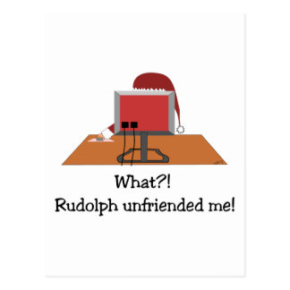 Funny Christmas - Santa Unfriended by Rudolph Postcard