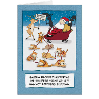 Funny Christmas: Santa's Sleigh Cats Card