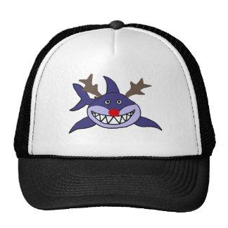 Funny Christmas Shark Reindeer Cap