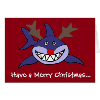 Funny Christmas Shark Reindeer Card