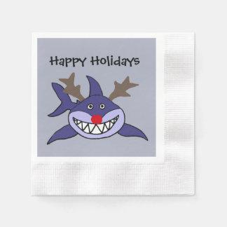Funny Christmas Shark Reindeer Paper Serviettes