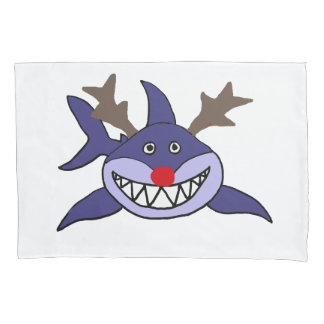 Funny Christmas Shark Reindeer Pillowcase