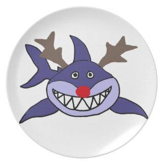 Funny Christmas Shark Reindeer Plate