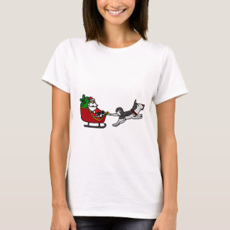Funny Christmas Sleigh with Husky Dog Pulling T-Shirt
