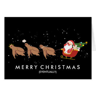 Funny Christmas sloth reindeer Santa face palm Card