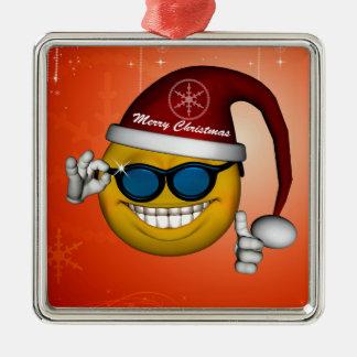 Funny christmas smiley christmas ornament