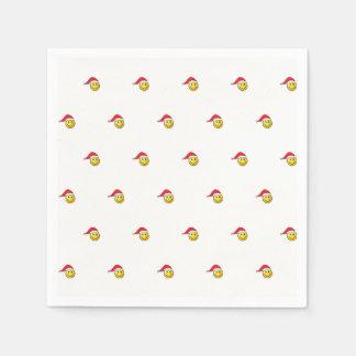 Funny Christmas Smiley Emoji Santa Hat Pattern Disposable Serviettes