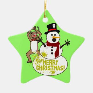 Funny Christmas Snowman Christmas Ornament