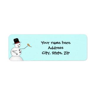 Funny Christmas snowman Return Address Label