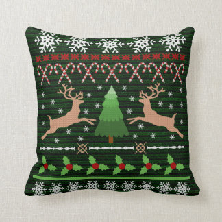 Funny Christmas Sweater Holiday Reindeer Cushion