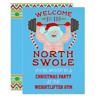 Funny Christmas Swole Santa Weightlifter Gym Party Card