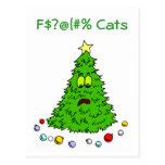 Funny Christmas Tree Jokes Cats Holiday Postcard