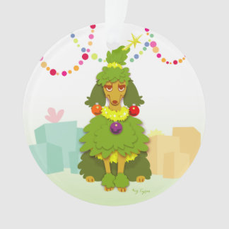 Funny Christmas Tree Poodle Ornament