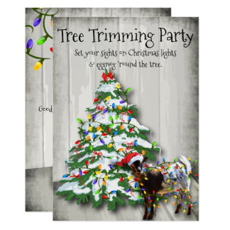 Funny Christmas Tree Trimming Party Goat Card