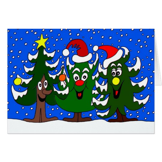 Funny Christmas Trees Cartoon Card