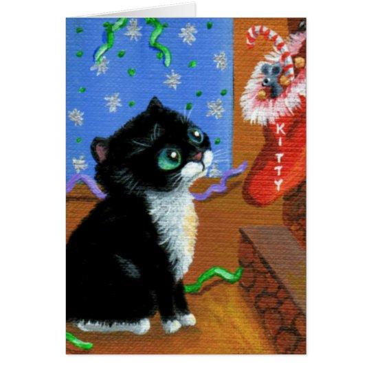 Funny Christmas Tuxedo Black  Cat Creationarts Card