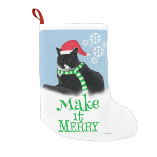 Funny Christmas Tuxedo Cat Small Christmas Stocking