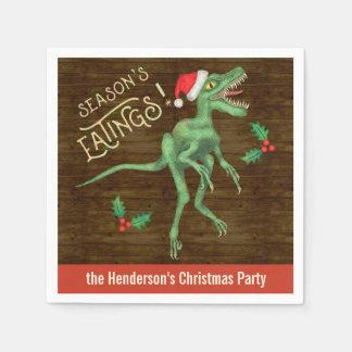 Funny Christmas Velociraptor Dinosaur Custom Name Disposable Serviettes