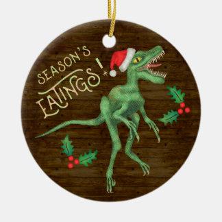 Funny Christmas Velociraptor Dinosaur Eatings Christmas Ornament