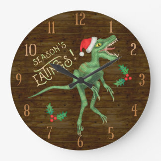 Funny Christmas Velociraptor Dinosaur Eatings Large Clock