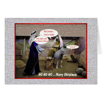 Funny Christmas Virgin Mary and Joseph in barn Greeting Card
