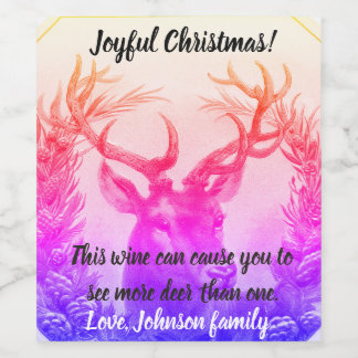 Funny Christmas wine bottle label. Customizable. Wine Label