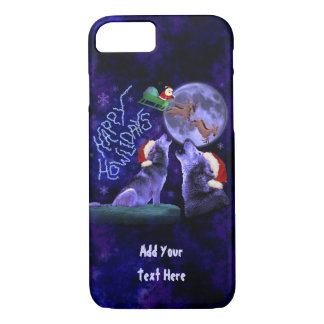 Funny Christmas Wolf Pun Happy Howlidays Custom iPhone 7 Case