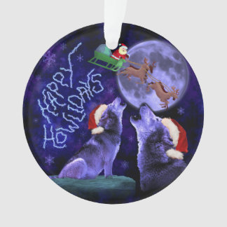 Funny Christmas Wolf Pun Happy Howlidays Humor Ornament