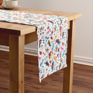 Funny circus cartoon cute animals pattern short table runner