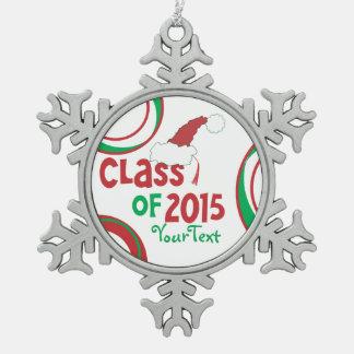 Funny Class of 2015 Santa Hat Graduation Tassel Pewter Snowflake Decoration