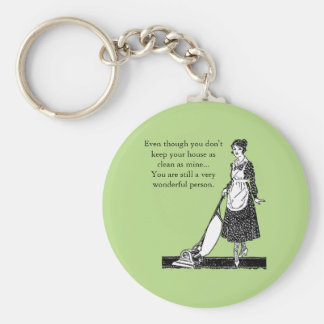 Funny Clean House - Customize Basic Round Button Key Ring