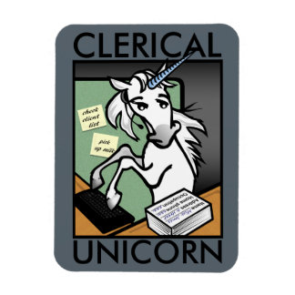 FUNNY CLERICAL UNICORN VERTICAL PHOTO MAGNET