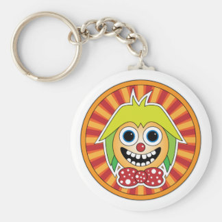 Funny clown basic round button key ring